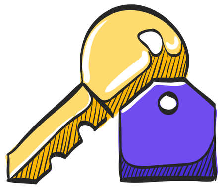 Key icon in color drawing. Safety protection house home property hotel accommodation travel 일러스트