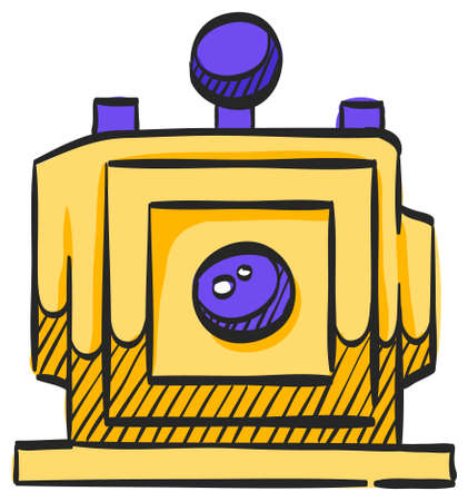 Large format camera icon in color drawing. View field sheet film photography lens  イラスト・ベクター素材