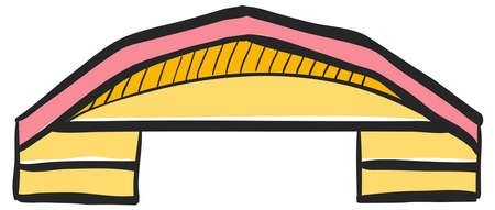 Airplane hangar icon in color drawing. Aviation repair maintenance building structure