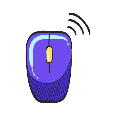 Computer mouse icon in color drawing. Wireless  connection