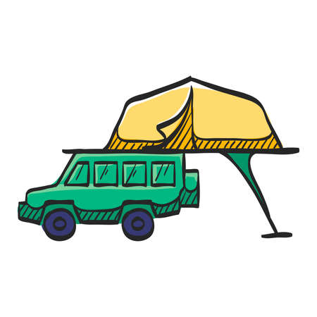 Portable camping tent icon in color drawing. Shelter vacation travel hiking mobile car automobile safari Africa