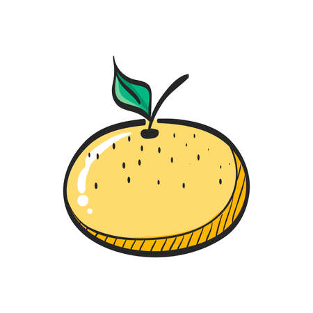 Orange icon in color drawing. Food fruit vitamin healthy diet Illustration