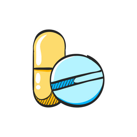 Pills icon in color drawing. Vitamin medicine drugs painkiller addiction