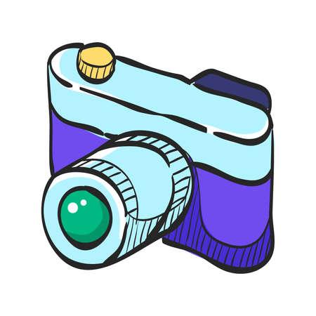 Range finder camera icon in color drawing. Digital photography film range finder focus