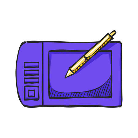 Drawing tablet icon in color drawing. Illustrator tools computer digital painting pen Illustration