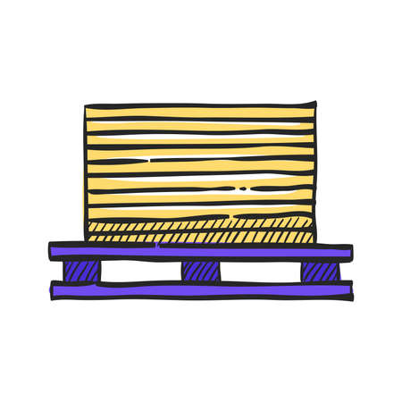Printing stack icon in color drawing. Print shop service publisher desktop publishing
