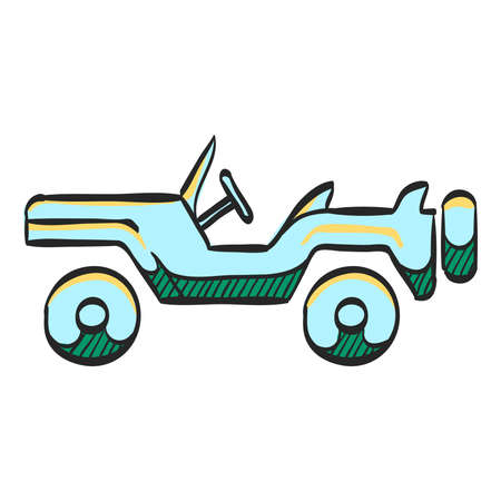 Military vehicle icon in color drawing. Offroad 4x4 war country road
