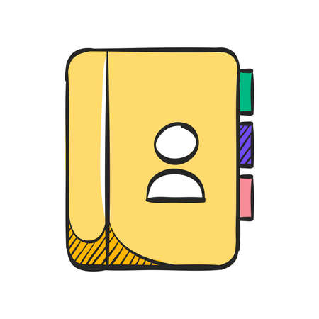 Address book icon in color drawing. contact phone list customer friend family
