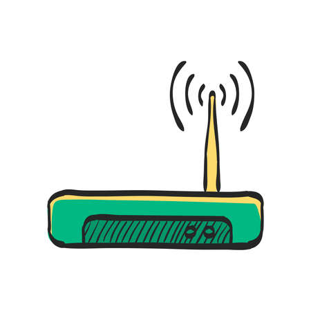 Internet router icon in color drawing. Connection data networking WiFi computer