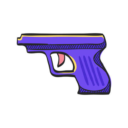 Arm gun icon in color drawing. Pistol automatic police justice crime trigger protection
