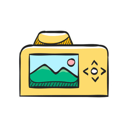 Camera icon in color drawing. Photography picture electronic imaging Illustration
