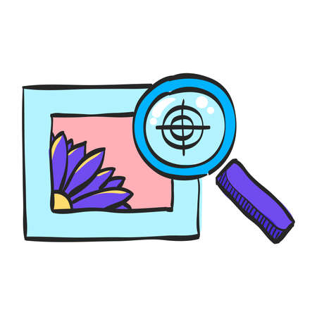 Printing quality control icon in color drawing. Print shop service publisher desktop publishing