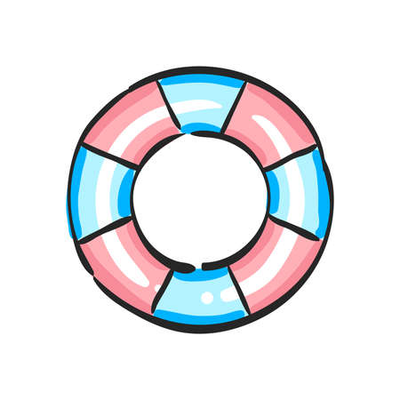 Ring buoy icon in color drawing. Safety equipment sea swimming water drowning