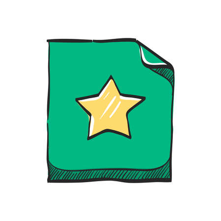 Favorite icon in color drawing. Bookmark web page like award achievement