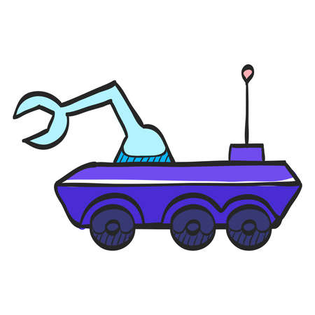 Space rover icon in color drawing. Vehicle, exploration, planet surface