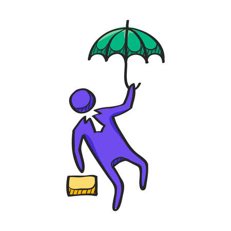 Businessman umbrella icon in color drawing. Business people challenge office Illustration
