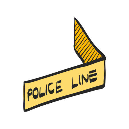 Police line icon in color drawing. Crime scene protection barrier tape