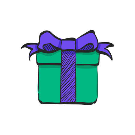Gift box icon in color drawing. Holiday Christmas birthday party present surprise