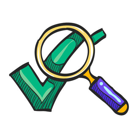 Magnifier check mark icon in color drawing. Zoom find locate approved decisions voting