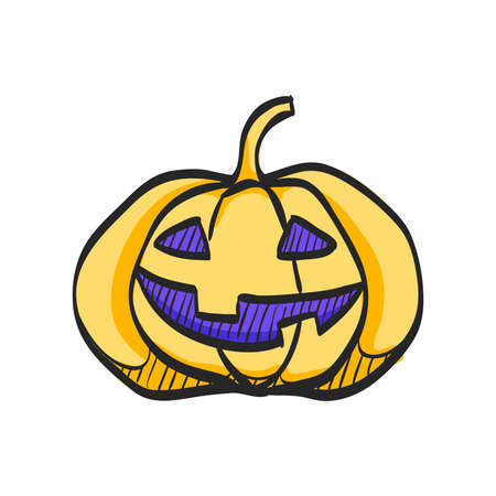 Pumpkin icon in color drawing. Halloween autumn celebration