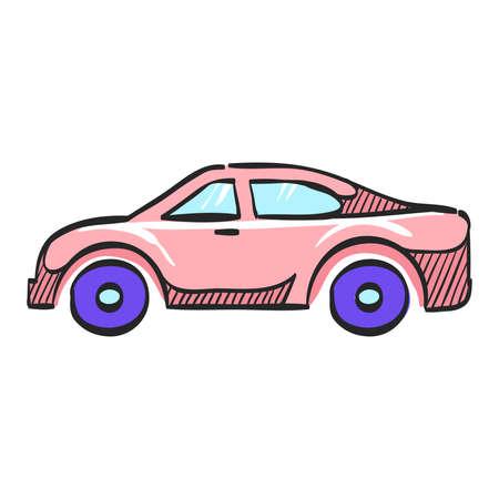 Car icon in color drawing. Automotive sedan luxury speed comfort