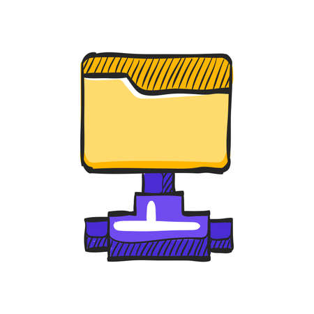 Shared folder icon in color drawing. Computer network, file sharing Stock Illustratie