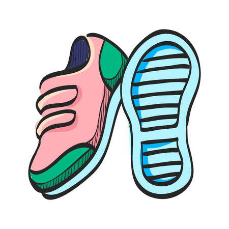 Shoes icon in color drawing. Sneakers foot sport