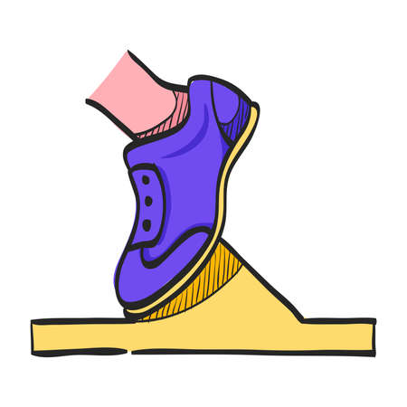 Starting block icon in color drawing. Sport sprint running get set ready go