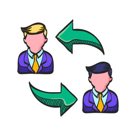 Employee rotation icon in color drawing. Position human resources