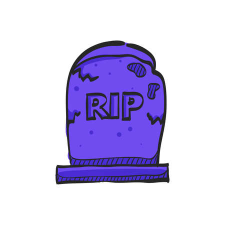 Tomb stone icon in color drawing. Monument dead Halloween spooky