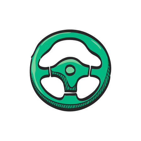 Steering wheel icon in color drawing. Car automobile auto transportation speed sport accessories