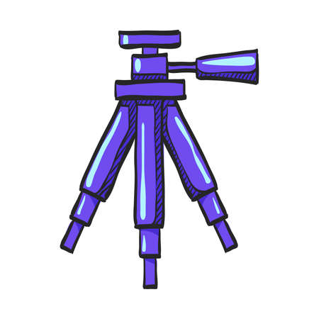 Camera tripod icon in color drawing. Photography stands stable movie shoot
