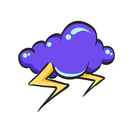 Weather overcast storm icon in color drawing. Nature forecast thunder Illustration