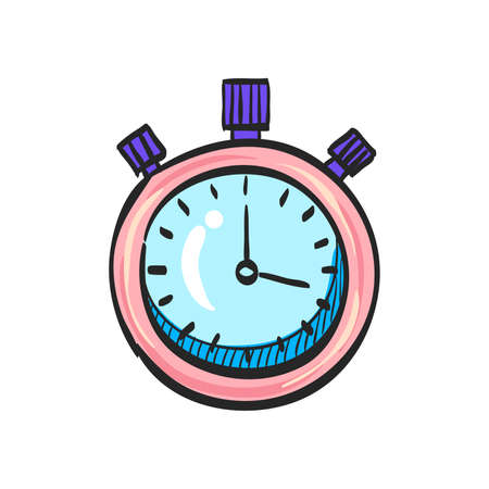 Stopwatch icon in color drawing. Speed, time, deadline, sport, start, stop Illustration