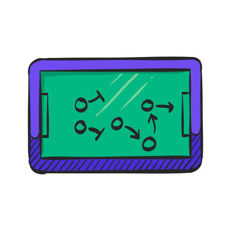 Chalkboard with arrow doodle icon in color drawing. Game sport tactic coaching playing strategy
