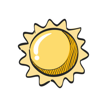 Weather forecast sunny icon in color drawing.