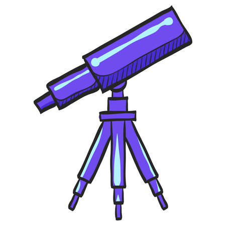 Telescope icon in color drawing. Space, stars constellation