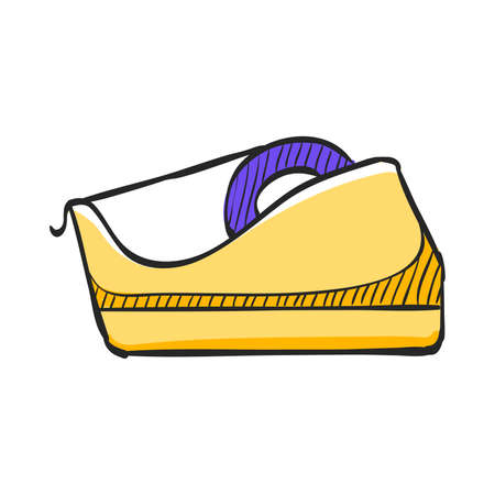Tape dispenser icon in color drawing. Office tool work supplies desktop