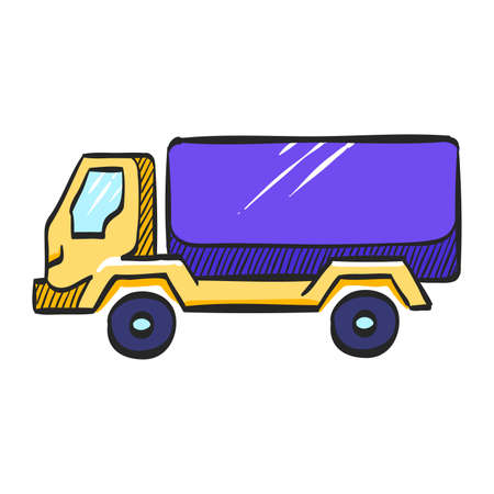 Military truck icon in color drawing. War transportation.