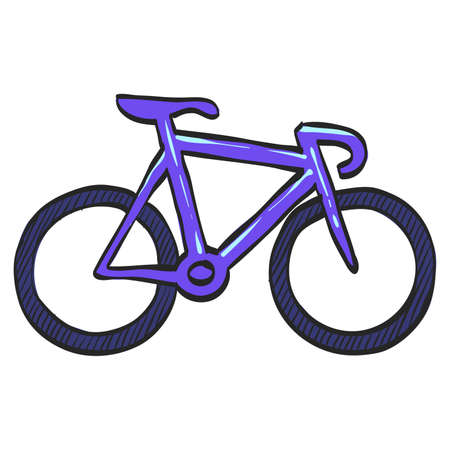 Track bike icon in color drawing. Bicycle racing road velodrome sport competition