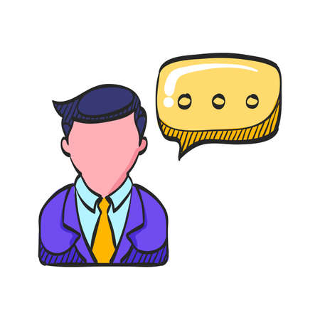 Businessman with talk bubble icon in color drawing. Communication discussion idea