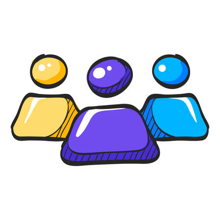 Teamwork icon in color drawing. Business communication collaboration team office Illustration