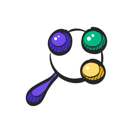Baby toy icon in color drawing. Newborn child happy ringing rattle