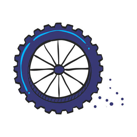 Motorcycle tire icon in color drawing. Motorcycle motorbike wheel transportation offroad terrain