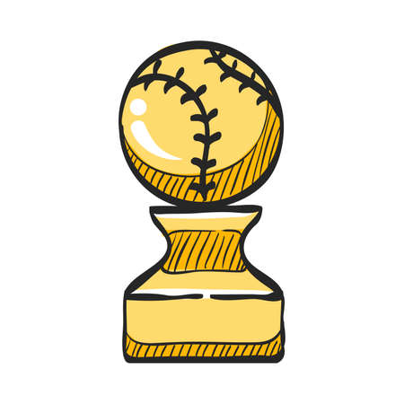 Baseball trophy icon in color drawing. Sport champion winner team prize