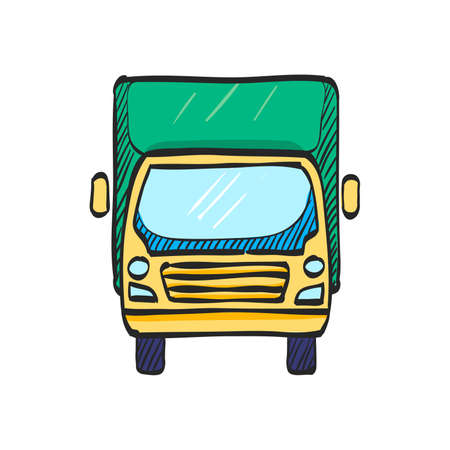 Truck icon in color drawing. Freight, transport, logistic, delivery