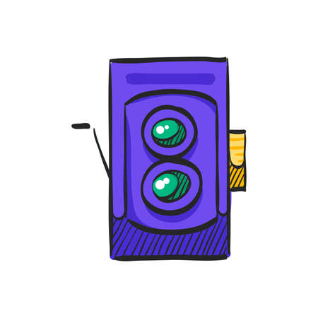 Twin lens reflex camera icon in color drawing. Vintage retro photography photo mechanical analog film shooting