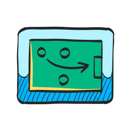 Strategy game icon in color drawing. Playing planning mental tactic steps