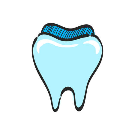 Tooth icon in color drawing. Toothpaste, hygiene, smile, healthy Illustration