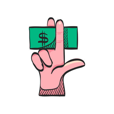 Hand holding money icon in color drawing. Service tip hotel waitress restaurant bribe gratification Illustration